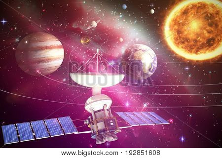 Digitally generated image of 3d solar power satellite against composite image of solar system against white background