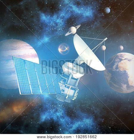 3d illustration of solar battery against composite image of solar system against white background
