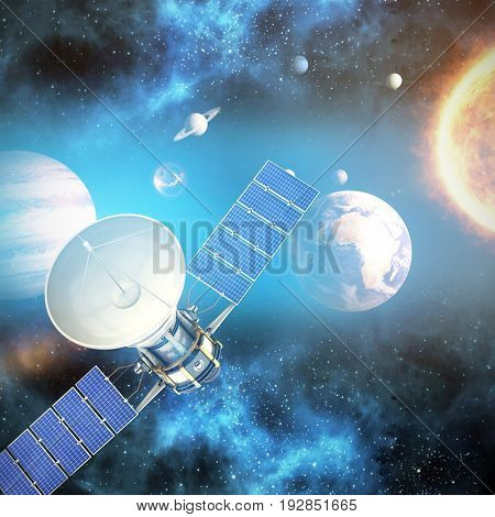 Digitally generated image of 3d solar satellite against graphic image of various planets with sun