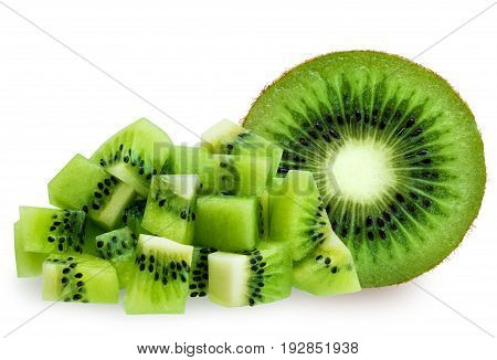 Half green kiwifruit and diced isolated over white