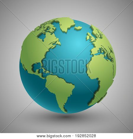 Earth globe with green continents. Modern 3d world map concept. Green planet with continent illustration