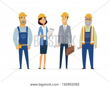 Construction Workers - colored vector modern flat illustrative composition of cartoon characters. Make a great presentation with these efficient builders, engineers and responsible business people.