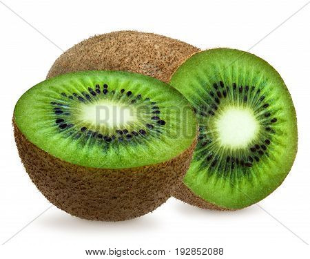 Whole green fuzzy kiwifruit, half, slice isolated over white