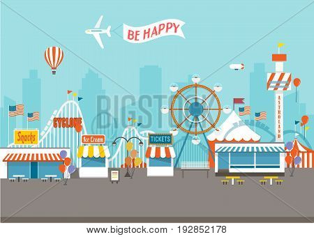Vector Concept of Happy Fair day with isolated objects