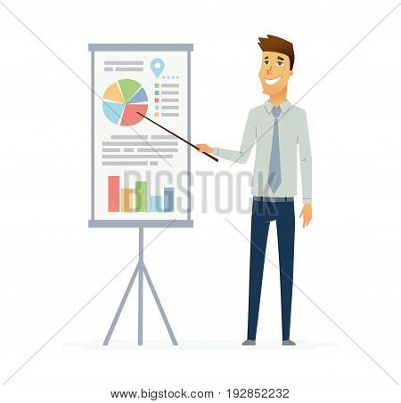Male Presenter - colored vector modern flat illustrative composition of a cartoon character with infographic charts and data. Make a great presentation with this business trainer, educator.