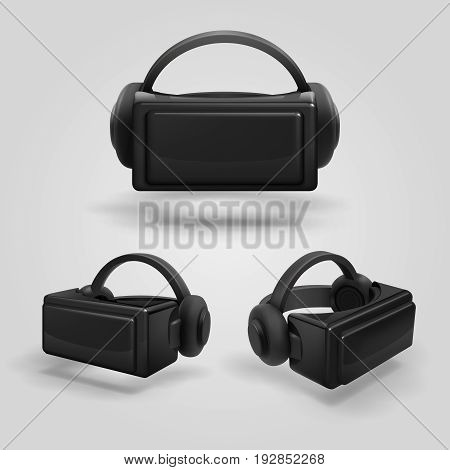 Headset and stereoscopic virtual reality goggles. Realistic vr glasses and headphones vector illustration. Cyber mask glass for game in vr