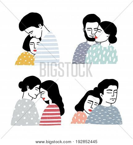 Set of couples in love. Portraits of loving guy and girl. Gentle hugs and kisses collection. Colorful vector illustration in cartoon style