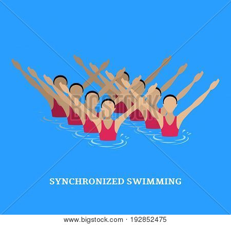 Vector illustration. Synchronized swimming. Sports element. Flat style.