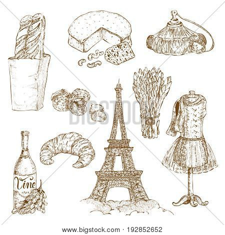 Set of isolated hand drawn paris elements with french food snacks clothes tree and eiffel tower vector illustration