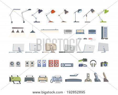 Office Essentials - modern color vector flat icons set. Different lamps, lights, display, monitor, desktop, computer, laptop, speaker, player, headphones, camera, fax, telephone, printer, scanner
