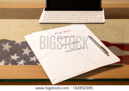 4th of July, the US Independence Day, place to advertise, light glass background, American flag, United States of America. Inauguration. Veteran.