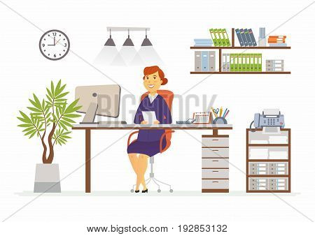 Office Woman - vector flat illustration of an employer, colleague, employee. A female worker cartoon character, desk, work station. Clock, cabinet, plant, book, shelf, lights, computer, fax