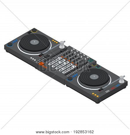 Dj Mixer Isometric View Audio Music Sound Equipment Mixing Technology for Entertainment and Club. Vector illustration
