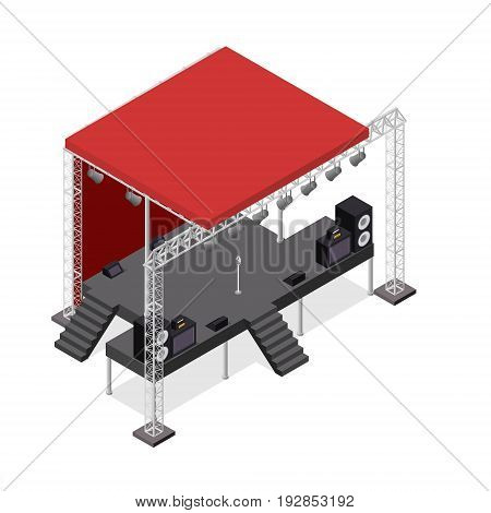 Event Stage Podium Construction Isometric View for Show, Entertainment, Performance or Party. Vector illustration