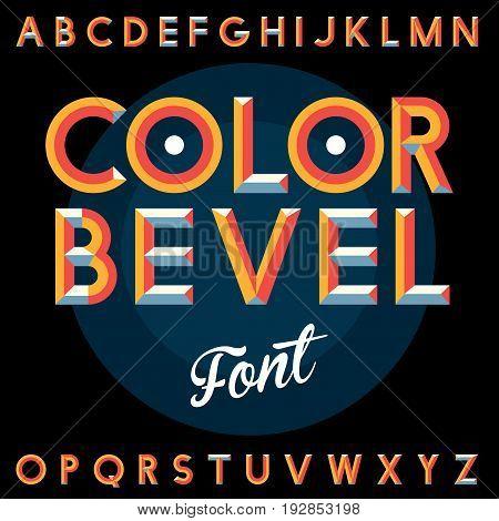 Color Bevel Vintage Font Poster with alphabet on the black background vector illustration