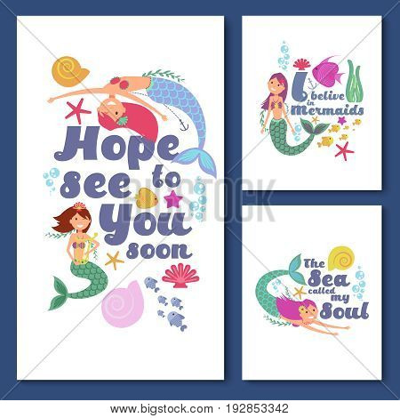 Cute kids nautical vector cards. Marine childrens invitations with funny mermaid girls. Kids banner with colored mermaids illustration