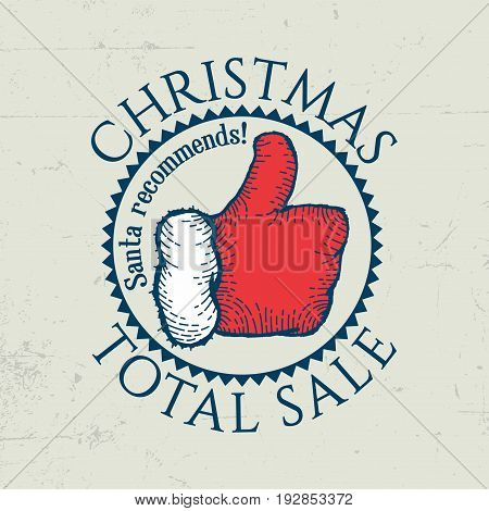 Christmas Total Sale Poster with positive gesture of santa and his recommends vector illustration