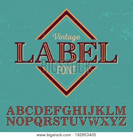 Vintage Label Font Poster with alphabet on the blue background vector illustration