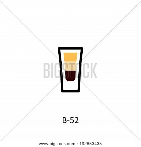 B-52 cocktail icon in flat style. Vector illustration