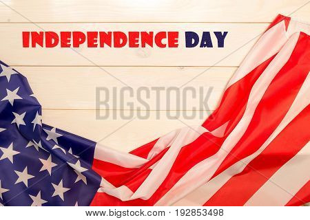 4th of July, the US Independence Day, place to advertise,  light wooden banner, American flag, United States of America
