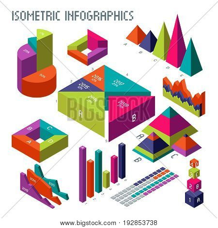 Isometric 3d vector diagrams and graphs for your information infographic and business presentation. Graph and diagram template, colored 3d web chart and graphic illustration