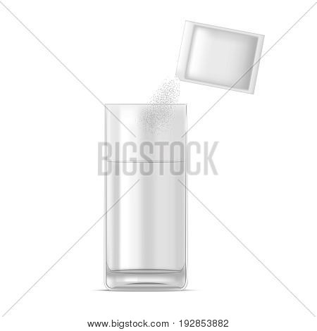 Realistic Glass of Water and Medicine Dose of Powder Liquid Drink Drug Isolated on White Background. Vector illustration