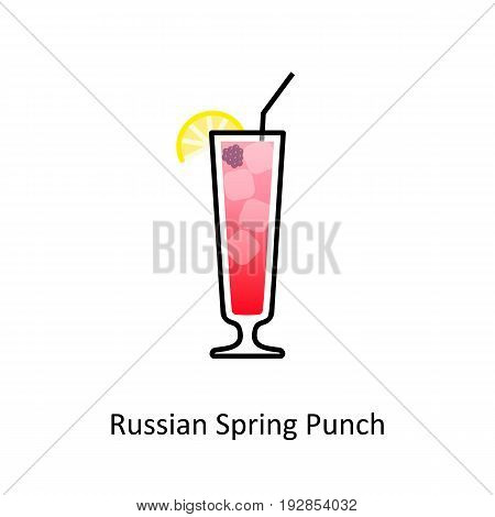 Russian Spring Punch cocktail icon in flat style. Vector illustration