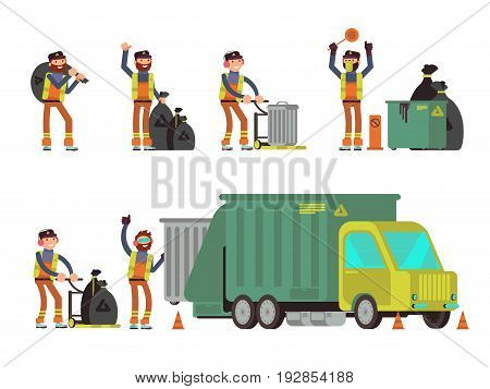 Garbage man collecting city rubbish and waste for recycling. Vector set of people collect dumpster city illustration