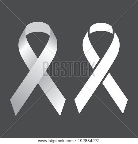 Two Identic Icon Objects with two light white Ribbons on greywhite background vector illustration