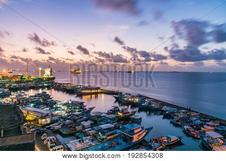 Night View Motion Of The Male Island With Jetty And Street Form Maldives