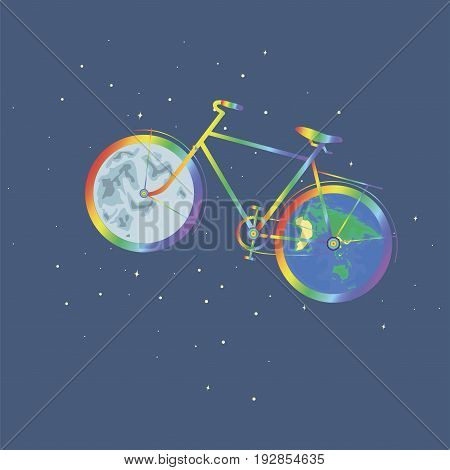 Silhouette of a rainbow bike is isolated against a background of stars. Rainbow bike one wheel planet Earth another wheel moon. Vector illustration of a movement of a bicycle planet. Eco art design.