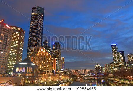 MELBOURNE AUSTRALIA - JUNE 14, 2017: Melbourne skyscrapers downtown cityscape in Melbourne Australia