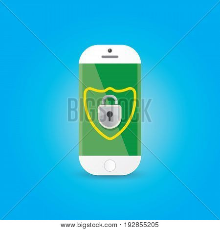Mobile security app screen with shield and lock on smartphone . Safety of personal information and individual correspondence in messengers concept vector illustration