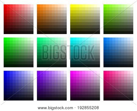 Color tabs with brightness and saturation. Vector set on white background