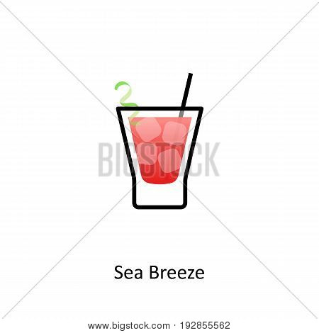 Sea Breeze cocktail icon in flat style. Vector illustration