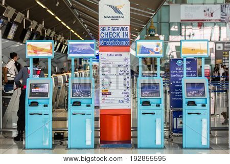 Bangkok Thailand - May 25 2017: A row of self service check-in counter at Suvarnabhumiairport airport in Bangkok Thailand.