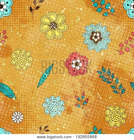 Vector vintage seamless pattern. Background with doodle flowers berries and leaves with halftone dits in grunge style.