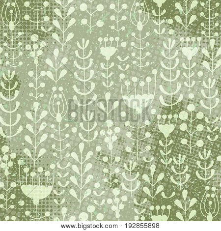 Vector vintage floral doodle seamless pattern. Background with flowers leaves and branches with halftone dits in grunge style