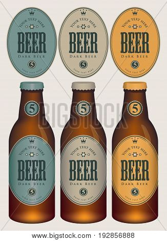 Three template beer labels and neck labels on glass bottles with caps. Vector illustration in retro style.