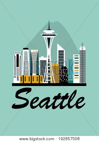 Seattle city travel background in bright colors