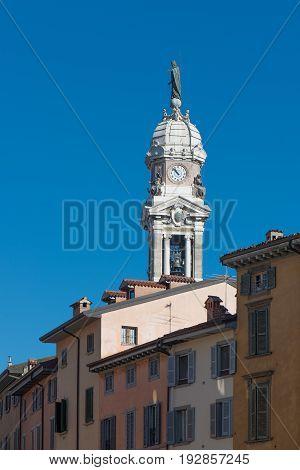Bell tower of S. Alexander In Bergamo Lombadria Italy.