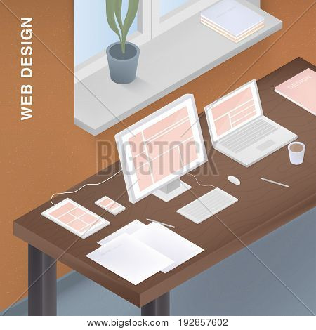 Adaptive web design for different devices. Colorful vector illustration with responsive design on computer, tablet, smartphone, laptop
