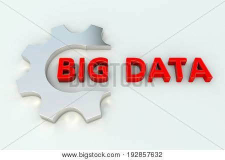 BIG DATA gear wheal white background 3d illustration
