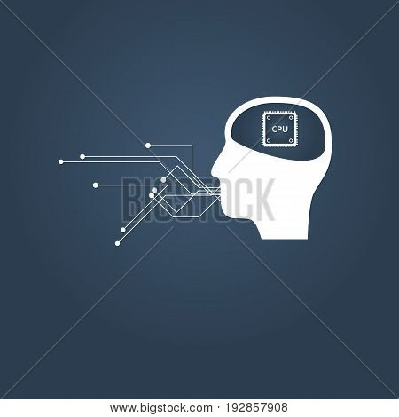 Artificial intelligence or AI communication vector concept. Human head with cpu inside. Eps10 vector illustration.