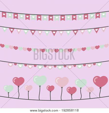 Cute garlands with hearts on pink background