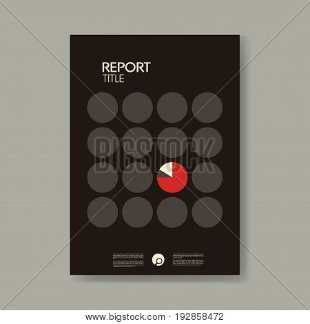 Annual business report cover template with modern material design style vector background. Symbol of pie chart on front cover. Eps10 vector illustration.