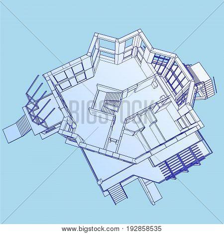 Isometric floor plan bg on blue background
