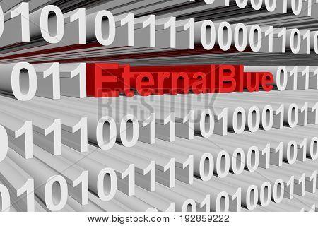 EternalBlue in the form of binary code, 3D illustration