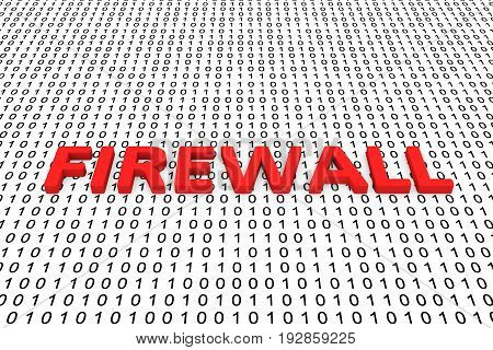 FIREWALL in the form of binary code, 3D illustration