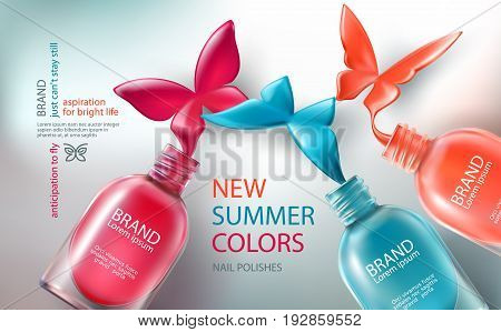 Vector illustration in realistic style collection of colored open bottles with nail polish spilled in form of butterflies. Advertising posters for promoting of premium product, advertising nail salon
